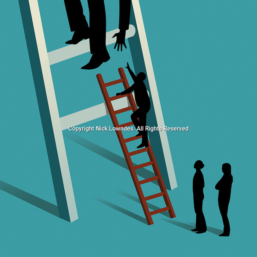 Businessman on large ladder reaching to give colleagues a helping hand climbing up