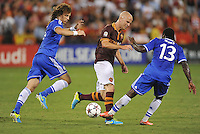Michael Bradley (4) of AS Roma goes against Victor Moses (13) right and David Luiz (4) of Chelsea FC.  Chelsea FC defeated AS Roma 2-1, during an international friendly , at RFK Stadium, Saturday August 10 , 2013.
