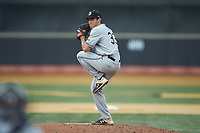 Davidson Wildcats starting pitcher Josh Hudson (33) in action against the Wake Forest Demon Deacons at David F. Couch Ballpark on May 7, 2019 in  Winston-Salem, North Carolina. The Demon Deacons defeated the Wildcats 11-8. (Brian Westerholt/Four Seam Images)