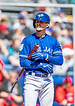 6 March 2019: Toronto Blue Jays top prospect infielder Cavan Biggio in action during a Spring Training game against the Philadelphia Phillies at Dunedin Stadium in Dunedin, Florida. The Blue Jays defeated the Phillies 9-7 in Grapefruit League play. Mandatory Credit: Ed Wolfstein Photo *** RAW (NEF) Image File Available ***