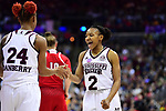 COLUMBUS, OH - MARCH 30: Morgan William #2 of the Mississippi State Bulldogs celebrates with Jordan Danberry #24 of the Mississippi State Bulldogs as time runs off the clock during a semifinal game of the 2018 NCAA Division I Women's Basketball Final Four at Nationwide Arena in Columbus, Ohio. (Photo by Ben Solomon/NCAA Photos via Getty Images)
