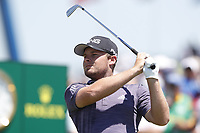 Tyrell Hatton (ENG) tees off on the first hole during the final round of the 118th U.S. Open Championship at Shinnecock Hills Golf Club in Southampton, NY, USA. 17th June 2018.<br /> Picture: Golffile | Brian Spurlock<br /> <br /> <br /> All photo usage must carry mandatory copyright credit (&copy; Golffile | Brian Spurlock)