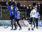 Uppsala 2015-03-10 Bandy Elitseriekval IK Sirius - Falu BS :  <br /> Sirius Mattias Hammarstr&ouml;m jublar med Daniel B&auml;rnesk&auml;r efter sitt 5-1 m&aring;l under matchen mellan IK Sirius och Falu BS <br /> (Foto: Kenta J&ouml;nsson) Nyckelord:  Bandy Elitserien Elitseriekval Kval Kvalserien Uppsala Studenternas IP IK Sirius IKS Falun Falu BS jubel gl&auml;dje lycka glad happy