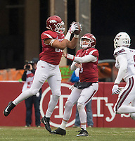 Hawgs Illustrated/BEN GOFF <br /> CJ O'Grady, Arkansas tight end, catches a pass on a desperate final play in the fourth quarter against Mississippi State Saturday, Nov. 18, 2017, at Reynolds Razorback Stadium in Fayetteville.