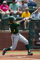 Baylor Bears designated hitter Nathan Orf #4 swings during the NCAA Regional baseball game against Oral Roberts University on June 3, 2012 at Baylor Ball Park in Waco, Texas. Baylor defeated Oral Roberts 5-2. (Andrew Woolley/Four Seam Images)