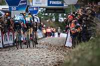 Wout Van Aert (BEL/Cibel-Cebon Offroad Team), Michael Vanthourenhout (BEL/Marlux Bingoal) and later race winner Toon Aerts (BEL/Telenet Fidea Lions) up the Koppenberg. <br /> <br /> Koppenbergcross Belgium 2018
