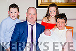 Little Ellie Lucey, Lisbaby, Headford celebrates her christening with her parents Pat and Denise, big sister Shannon and brother Evan in the Kerry Way bar Glenflesk on sunday