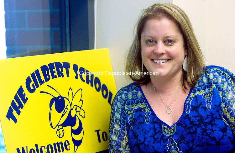 WINSTED CT. 15 June 2015-061515SV01-Debra Lewis, teacher, at the school in Winsted Monday. Lewis is The Gilbert School&rsquo;s teacher of the year.<br /> Steven Valenti Republican-American