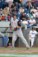 Christian Lichtenthaler of the Salem-Keizer Volcanoes bats during a game against the Hillsboro Hops at Ron Tonkin Field on July 26, 2015 in Hillsboro, Oregon. Hillsboro defeated Salem-Keizer, 4-3. (Larry Goren/Four Seam Images)