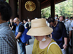 August 15, 2020, Tokyo, Japan - People offer silent prayer for war victims at the Yasukuni shrine  in Tokyo on Saturday, August 15, 2020. Japan marked the 75th anniversary of its surrender of World War II.        (Photo by Yoshio Tsunoda/AFLO)