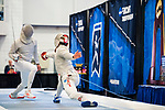 UNIVERSITY PARK, PA - MARCH 25: Domenik Koch of Ohio State University takes on Ziad Elsissy of Wayne State University in the semifinals of the saber competition during the Division I Men's Fencing Championship held at the Multi-Sport Facility on the Penn State University campus on March 25, 2018 in University Park, Pennsylvania. (Photo by Doug Stroud/NCAA Photos via Getty Images)