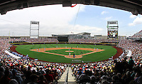 A crowd of 22,745 watched North Carolina and Vanderbilt play the first ever College World Series game at TD Ameritrade Park Omaha. Vanderbilt won 7-3 to open the 2011 College World Series in Omaha, Neb. (Photo by Michelle Bishop)..