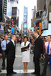 L to R: Glenn (Kevin's brother), Kevin, Colleen Zenk and Roger and Damon Jacobs - As The World Turns' Colleen Zenk is ordained Universal Life Church minister who officiated the wedding of We Love Soaps  Roger Newcomb and Kevin Mulcahy Jr on August 18, 2012 in Times Square, New York City, New York. (Photos by Sue Coflin/Max Photos)