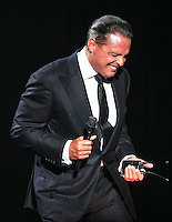 Mexican singer Luis Miguel during his concert at the Multipurpose Center, as part of their tour called Déjà vu