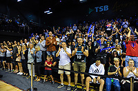 Fans applaud at the end of the Australian National Basketball League match between Skycity Breakers and Illawarra Hawks at TSB Bank Arena in Wellington, New Zealand on Thursday, 14 February 2019. Photo: Dave Lintott / lintottphoto.co.nz