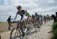 Fabian Cancellara (CHE/TrekFactoryRacing) followed closely by Sep Vanmarcke (BEL/Belkin), John Degenkolb (DEU/Giant-Shimano) & Zdenek Stybar (CZE/OPQS)<br /> <br /> Paris-Roubaix 2014