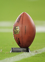 Aug. 22, 2009; Glendale, AZ, USA; Detail view of a football on a kicking tee prior to the game between the San Diego Chargers against the Arizona Cardinals during a preseason game at University of Phoenix Stadium. Mandatory Credit: Mark J. Rebilas-