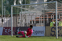 Turkey goalkeeper, Altay Bayindir, saves Oliver Burke's shoot-out penalty during Turkey Under-21 vs Scotland Under-21, Tournoi Maurice Revello Football at Stade Francis Turcan on 9th June 2018