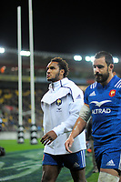France's Benjamin Fall walks in at halftime after being sent off during the Steinlager Series international rugby match between the New Zealand All Blacks and France at Westpac Stadium in Wellington, New Zealand on Saturday, 16 June 2018. Photo: Dave Lintott / lintottphoto.co.nz