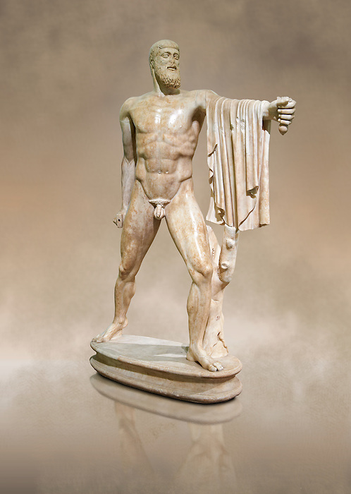 2nd century AD Roman marble sculpture of Harmodius  from the Tyrannicide group,  a Roman copy of an early classical period Geek original, inv 6009, Naples Museum of Archaeology, Italy