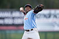 Hickory Crawdads relief pitcher Johan Juan (36) in action against the Kannapolis Intimidators at Kannapolis Intimidators Stadium on April 10, 2016 in Kannapolis, North Carolina.  The Intimidators defeated the Crawdads 10-3.  (Brian Westerholt/Four Seam Images)
