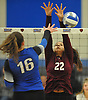 Cayleigh Delgado #22 of Whitman, right, contests a spike attempt by Sophia Mattern #16 of Centereach during a non-league varsity girls volleyball match at New York Institute of Technology in Old Westbury on Wednesday, Sept. 20, 2017. Whitman rallied from a two-set deficit to win 21-25, 16-25, 25-16, 25-22, 25-19.