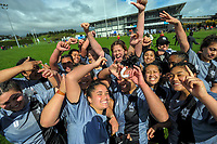 St Mary's players celebrate winning the 2017 1st XV rugby Top Four girls' final between St Mary's College and Hamilton Girls' High School at Sport and Rugby Institute in Palmerston North, New Zealand on Sunday, 10 September 2017. Photo: Dave Lintott / lintottphoto.co.nz
