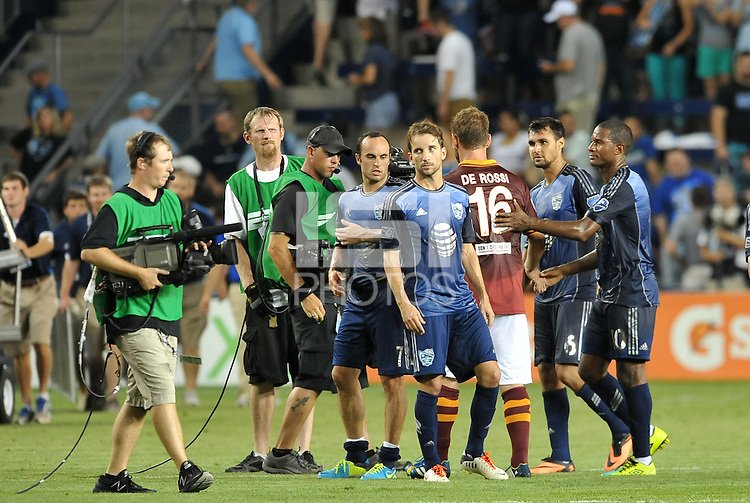 Sporting Park, Kansas City, Kansas, July 31 2013:<br /> Both teams leave the field at the conclusion of the game.<br /> MLS All-Stars were defeated 3-1 by AS Roma at Sporting Park, Kansas City, KS in the 2013 AT &amp; T All-Star game.
