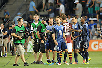 Sporting Park, Kansas City, Kansas, July 31 2013:<br /> Both teams leave the field at the conclusion of the game.<br /> MLS All-Stars were defeated 3-1 by AS Roma at Sporting Park, Kansas City, KS in the 2013 AT & T All-Star game.