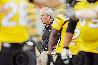 July 12, 2008; Hamilton, ON, CAN; Hamilton Tiger-Cats receivers coach Dennis Goldman prior to the CFL football game against the Saskatchewan Roughriders at Ivor Wynne Stadium. The Roughriders defeated the Tiger-Cats 33-28. Mandatory Credit: Ron Scheffler.