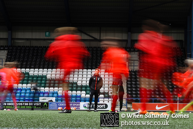 Liverpool Ladies 2 Everton Ladies 1, 19/03/2017. Select Security Stadium, SSE FA Cup Fifth Round. Liverpool players warming up before the game between Liverpool Ladies v Everton Ladies at The Select Security Stadium, Widnes, in the Women's SSE FA Cup Fifth Round. Photo by Paul Thompson.