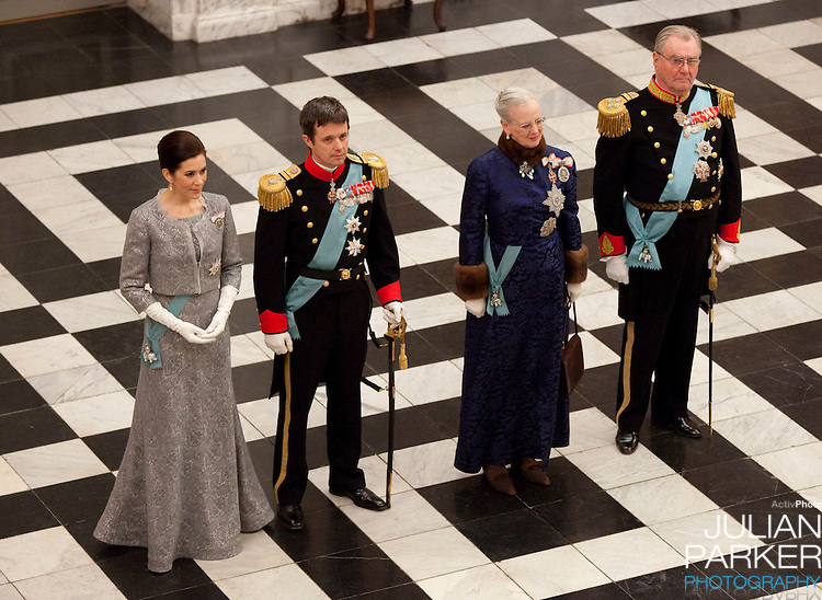 Queen Margrethe, and Prince Henrik, Crown Prince Frederik, and Crown Princess Mary of Denmark, attend the New Year Court for diplomats at Christiansborg Palace, in Copenhagen, Denmark.