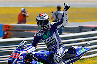 Jorge Lorenzo celebrating in MotoGP race in Motorcycle Championship GP, in Jerez, Spain. April 24, 2016