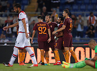 Calcio, Serie A: Roma, stadio Olimpico, 21 settembre 2016.<br /> Roma&rsquo;s Mohamed Salah, second from right, celebrates with teammates, from left, Stephan El Shaarawy, Francesco Totti and Edin Dzeko, after scoring during the Serie A soccer match between Roma and Crotone at Rome's Olympic stadium, 21 September 2016. Roma won 4-0.<br /> UPDATE IMAGES PRESS/Isabella Bonotto