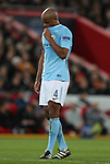 Vincent Kompany of Manchester City dejected during the Champions League Quarter Final 1st Leg, match at Anfield Stadium, Liverpool. Picture date: 4th April 2018. Picture credit should read: Simon Bellis/Sportimage