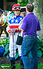 Miss Modela with Jennifer Miller aboard in the paddock before the Longines International Ladies Fegentri Amateur race at Delaware Park on 6/8/15