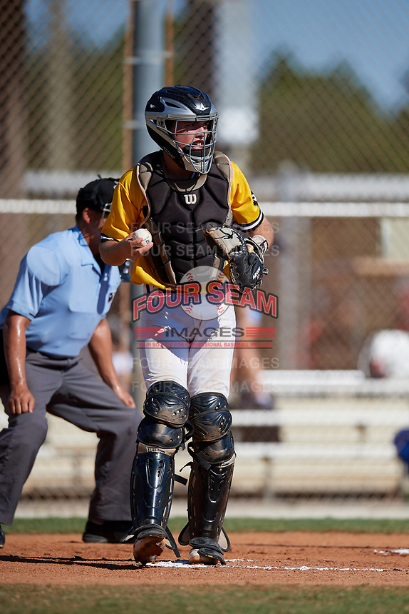 Harrison Owen during the WWBA World Championship at the Roger Dean Complex on October 21, 2018 in Jupiter, Florida.  Harrison Owen is a catcher from Aliso Viejo, California who attends Florida Virtual School and is committed to Auburn.  (Mike Janes/Four Seam Images)