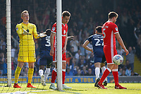 Wieger Sietsma of MK Dons is exasperated by his defence during the Sky Bet League 1 match between Southend United and MK Dons at Roots Hall, Southend, England on 21 April 2018. Photo by Carlton Myrie.