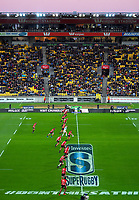 The Crusaders kick off during the Super Rugby match between the Hurricanes and Crusaders at Westpac Stadium in Wellington, New Zealand on Saturday, 10 March 2018. Photo: Dave Lintott / lintottphoto.co.nz