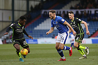 Bristol Rovers' Marc Bola (left) under pressure from Oldham Athletic's Dan Gardner (right) during the Sky Bet League 1 match between Oldham Athletic and Bristol Rovers at Boundary Park, Oldham, England on 30 December 2017. Photo by Juel Miah / PRiME Media Images.