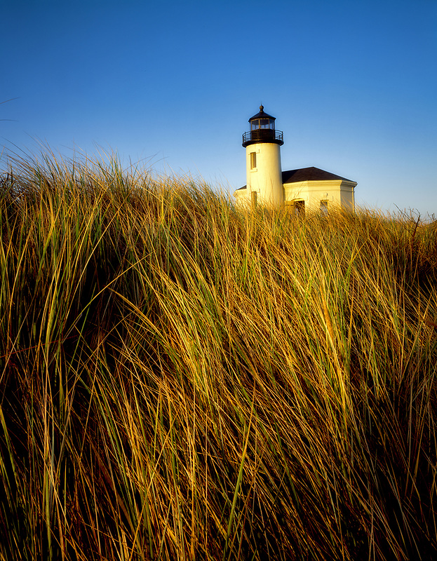 Coquille River lighthouse and dune grass. Oregon