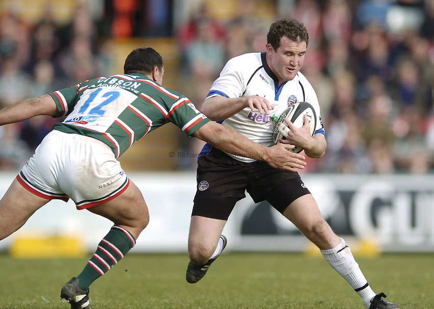 Photo: Jonathan Butler..Leicester Tigers v Bath Rugby. Guinness Premiership. 17/03/2007..Chris Malone of Bath is tackled Daryl Gibson of Leicester.