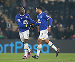 Romelu Lukaku of Everton and Ashley Williams of Everton celebrate the own goal during the English Premier League match at the KCOM Stadium, Kingston Upon Hull. Picture date: December 30th, 2016. Pic Simon Bellis/Sportimage