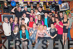 0874-0878.CHECK THIS ONE.39 and a bit.------------.Avril Connor(seated 3rd from the Rt)from Spa Rd,Tralee celebrated her 40th birthday last Saturday night in the Huddle bar,Strand Rd with loads of friends and family.
