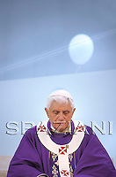 Pope Benedict XVI celebrates a mass at the Holy face of Jesus parish church in Rome,March 29, 2009