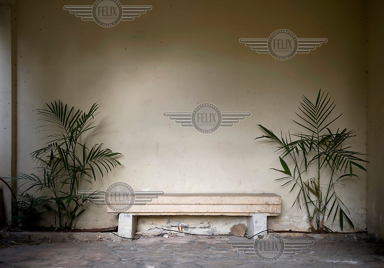 A concrete bench in the lobby of a Bauhaus style building at 120 Ahad Haam Street. Tel Aviv is known as the White City in reference to its collection of 4,000 Bauhaus style buildings, the largest number in any city in the world. In 2003 the Bauhaus neighbourhoods of Tel Aviv were placed on the UNESCO World Heritage List. .