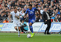 Cardiff City's Nathaniel Mendez-Laing breaks away from Swansea City's Ben Wilmot<br /> <br /> Photographer Ian Cook/CameraSport<br /> <br /> The EFL Sky Bet Championship - Swansea City v Cardiff City - Sunday 27th October 2019 - Liberty Stadium - Swansea<br /> <br /> World Copyright © 2019 CameraSport. All rights reserved. 43 Linden Ave. Countesthorpe. Leicester. England. LE8 5PG - Tel: +44 (0) 116 277 4147 - admin@camerasport.com - www.camerasport.com