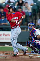 Oklahoma City RedHawks outfielder George Springer (8) watches his first inning home run leave the ballpark during the Pacific Coast League baseball game against the Round Rock Express on July 9, 2013 at the Dell Diamond in Round Rock, Texas. Round Rock defeated Oklahoma City 11-8. (Andrew Woolley/Four Seam Images)