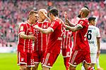 10.03.2018, Allianz Arena, Muenchen, GER, 1.FBL,  FC Bayern Muenchen vs. Hamburger SV, im Bild Jubel nach dem Tor zum 2-0 durch Robert Lewandowski (FCB #9) mit +fc31+Arjen Robben (FCB #10) Arturo Vidal (FCB #23) <br /> <br />  Foto &copy; nordphoto / Straubmeier
