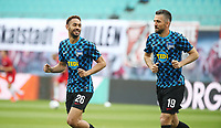 27th May 2020, Red Bull Arena, Leipzig, Germany; Bundesliga football, RB Leipzig versus Hertha Berlin;    Matheus Cunha (26, Berlin) and Vedad Ibisevic (19, Berlin) warm up